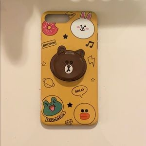 Line Friends brown pop socket case